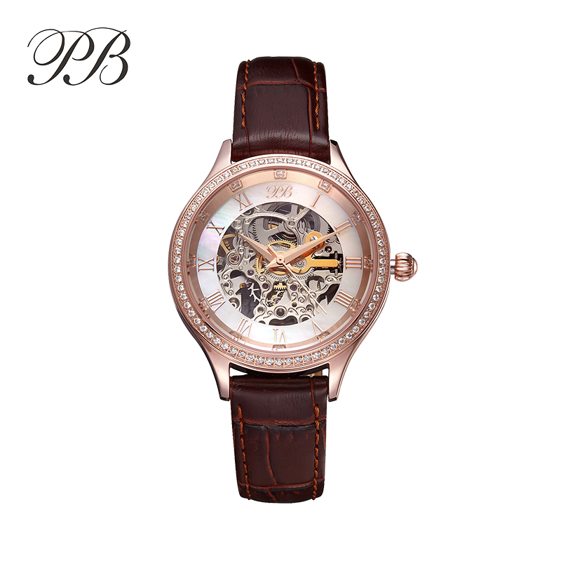 Luxury Brand PB Mechanical Watch Women Genuine Leather Strap Crystal Waterproof Automatic Watch montre marque luxe femme HL587 genuine leather brand luxury women man watch lovers quartz watch black white wristwatches montre femme 2015 de marque