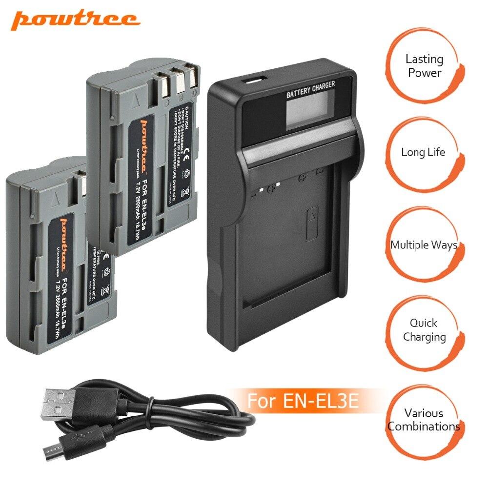 2 pcs EN-EL3e EN EL3e ENEL3e 2600 mah Caméra bateria Batteries AKKU + LCD USB Chargeur Pour Nikon D30 D50 d70 D90 D70S D300S D100 L15
