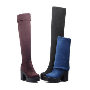 Image 2 - MORAZORA שלושה צבעים נשים מגפי אביב סתיו פלטפורמת מגפי אופנה על מגפי הברך עקבים גבוהים גדול גודל 34 43