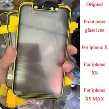 Lente de vidro frontal exterior da tela, 5 pçs/lote original para iphone xs max x digitalizador painel de toque cobertura de vidro de substituição