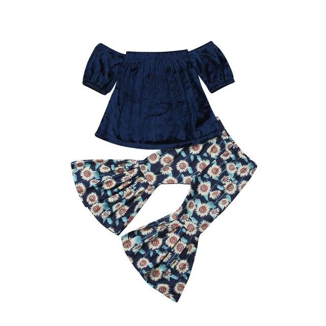 Wholesale 2PCS Kids Baby Girl Off Shoulder Velvet Top+Bell-Bottom Pants Fashion Outfit Clothes 1-6T