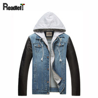 2016 New Male PU Leather Sleeves Patchwork Denim Jacket Coat Men S Jeans Hip Hop Casual