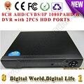 8CH AHD/CVBS/IP gravador de vídeo Digital DVR HVR NVR AHD AHD-H, apoio cctv analógico/ahd/1080 p Câmera ip com Portas 2HDD