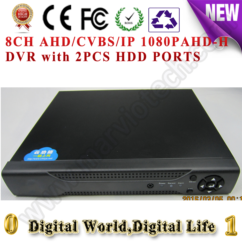 цены  8CH AHD/TVI/CVI/CVBS/IP AHD-H Digital video recorder DVR HVR NVR, support cctv analog/ahd/cvi/tvi/1080p with 2pcs HDD ports