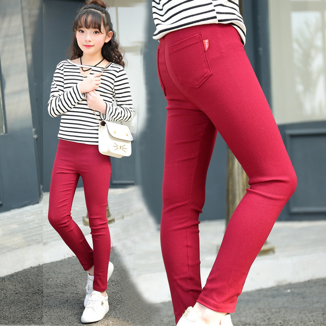 340c73f15d26a Famli 4Y-12Y Girls Thin Cotton Pencil Pants Children Spring Solid Skinny  Elastic Leggings Teen Girl Summer Trousers