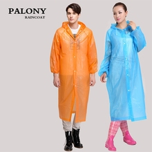 Fashion Women men EVA Transparent Raincoat Portable Outdoor Travel Rainwear Waterproof Camping Hooded Ponchos Plastic Rain Cover