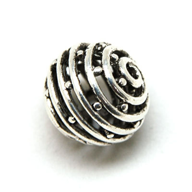 10 pcs 18mm Antique Design Tibetan Antique Silver Metal Hollow Cast Diy Loose Beads For Jewelry Making Accessories