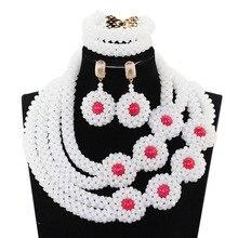 Splendid White Mix Red African Beaded Jewelry Set Indian Bridesmaid Silver Rhinestone Crystal Necklace Eerrings Set PJW138