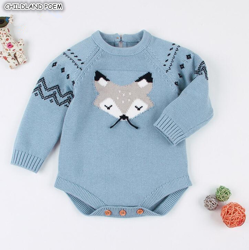 Knitted Baby Rompers Winter Baby Boy Romper Cotton Long Sleeve Christmas Baby Clothes Cotton Baby Sweater Infant Boys Jumpsuit