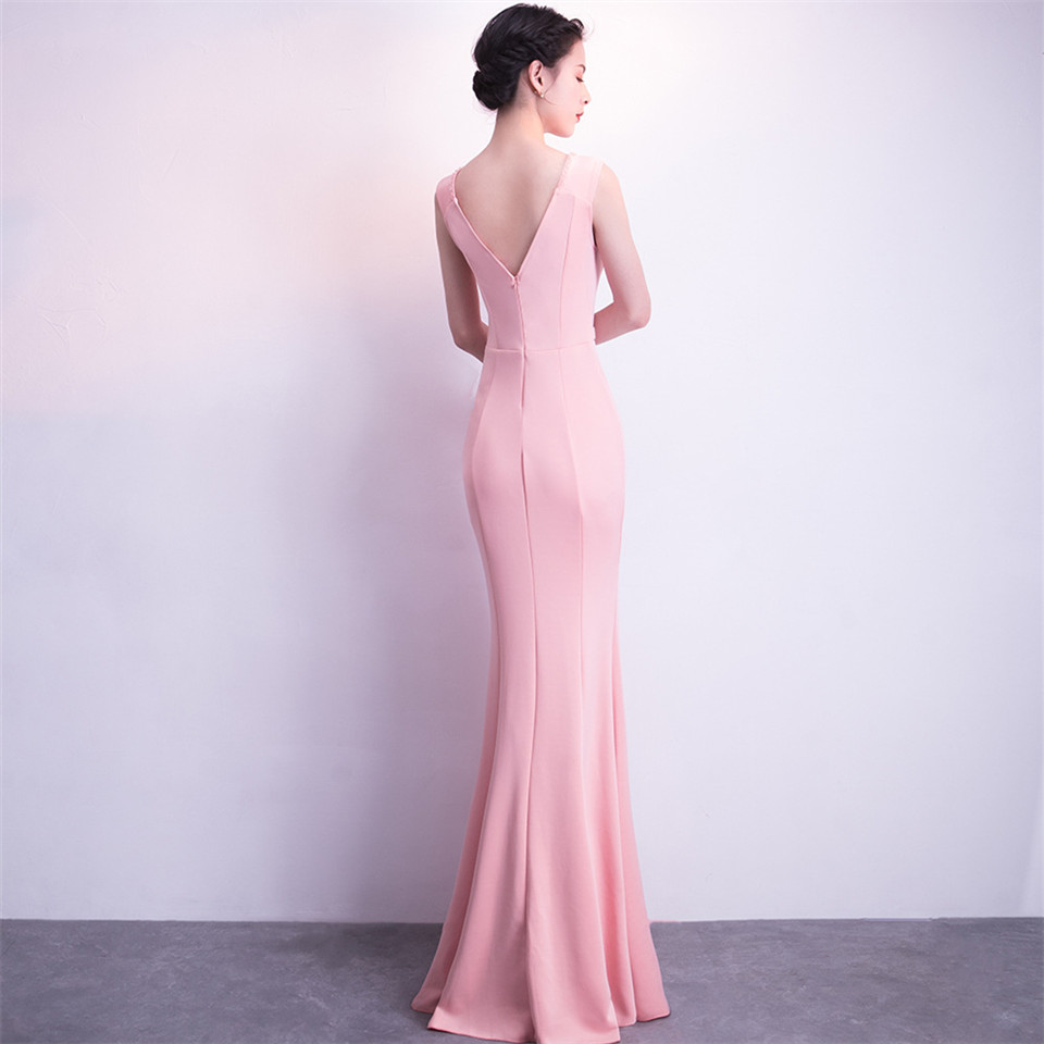 It's Yiiya Party Gowns V-neck Sexy Sleeveless Beading Evening dress Backless Floor-length Zipper back Mermaid Prom dresses C161