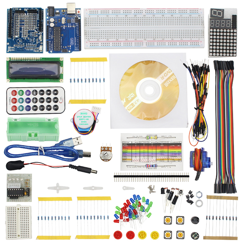 Full Starter Kit for Step Motor Servo 1602 LCD 74HC595 Resistor Breadboard Jumper Wire for UNO R3 Raspberry Pi 3 uno r3 breadboard advance kit