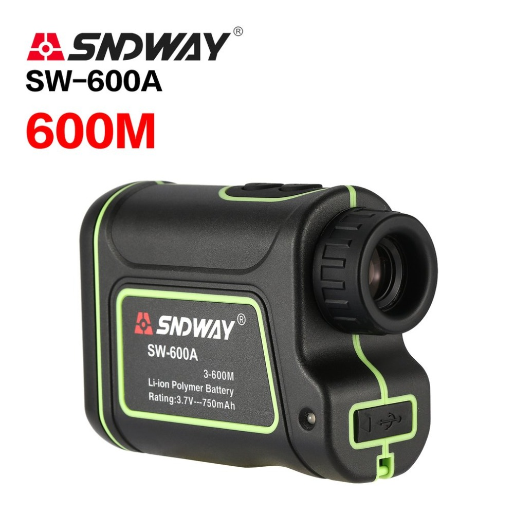 SNDWAY SW-600A Monocular Telescope Laser Rangefinder 600m Trena Laser Distance Meter Golf Hunting laser Range speed angle Finder