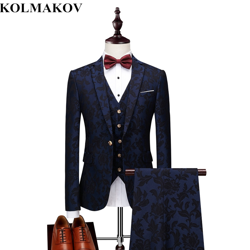 (jacket+vest+pants)2018 New Men's suits autumn fashion Mens formal Suits men prom suits Wedding Groom Blazers S,M,L,XL,XXL,3XL