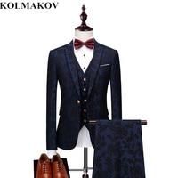(jacket+vest+pants)2019 New Men's Suits Autumn Fashion Mens Formal Suits Men Prom Suits Wedding Groom Blazers S,M,L,XL,XXL,3XL