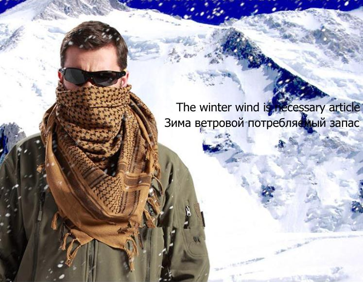 High Quality 100% Cotton Winter Military Army Sniper Scarf Muslim Hijab Shemagh Tactical Hunting Shawl Arabic Keffiyeh Scarves