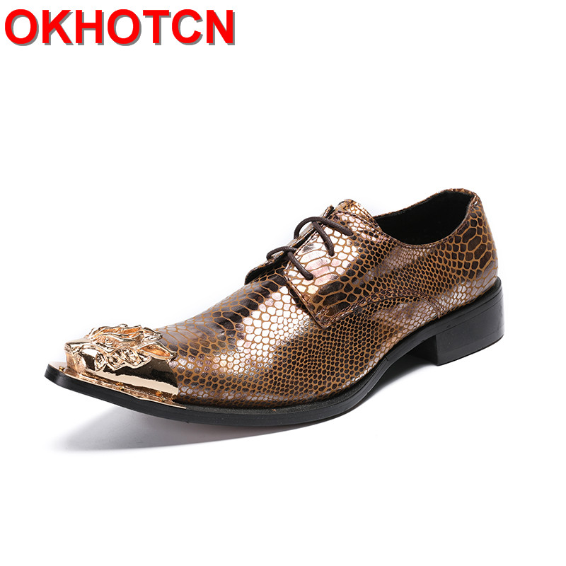 New Gold Genuine Leather Oxford Shoes Men Dragon Metal Pointed Toe Mens Formal Shoes Lace Up Fish Scale Print Sapato Masculino pointed metal toe mens shoes formal design patchwork men leather shoes with crystal hoops spring autumn sapato masculino social