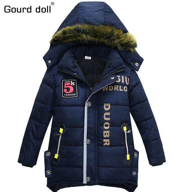 Новинка 2017 года для мальчиков зимние куртки и пальто Детская куртка с капюшоном для маленьких детей теплая одежда модное пальто длинные детская модная верхняя одежда и пальто