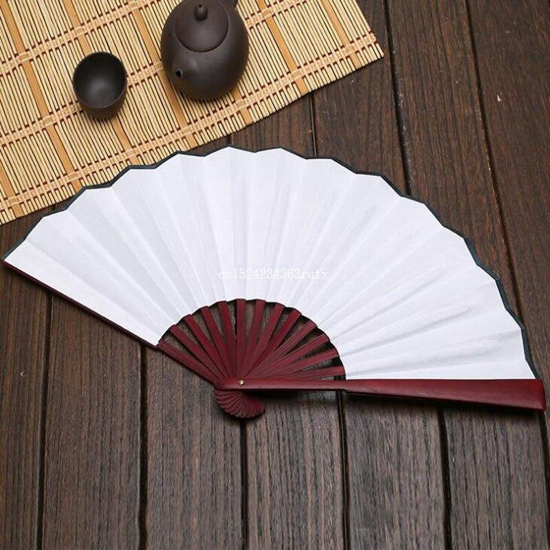 50pcs Folding Fan Black White Cloth Wooden Hand Fans DIY Craft Art Planting Ornaments Men s