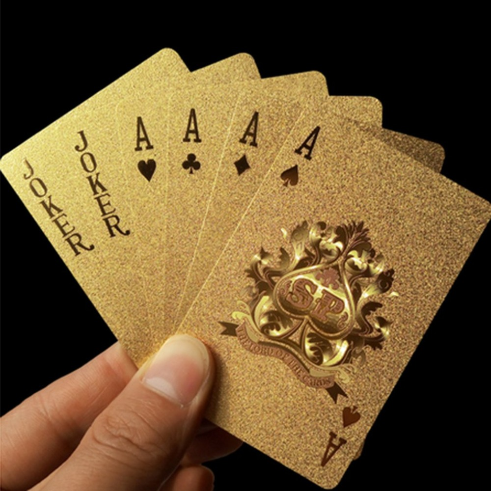 Waterproof Golden Playing Cards Deck gold foil poker set Magic card 24K Gold Plastic foil poker Durable Cards Hot
