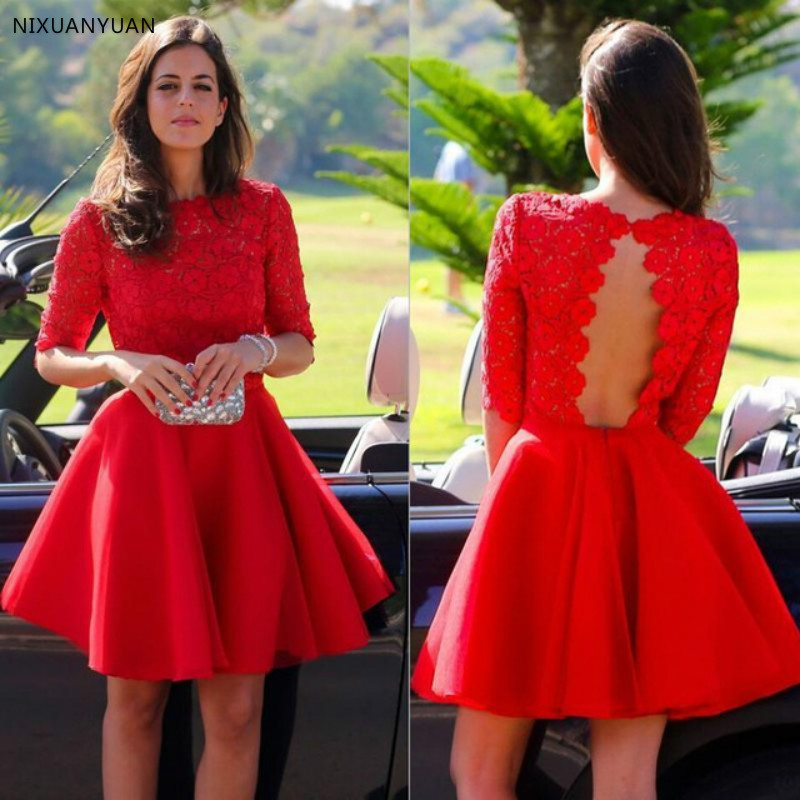 Cheap Short Red Homecoming   Dresses   With Half Sleeves Vintage Lace Bodice Cut Out Open Back Graduation   Dress     Cocktail     Dresses