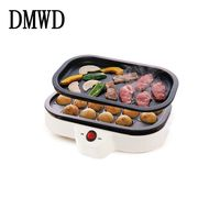 DMWD Electric Octopus Ball Maker BBQ Grill Barbecue Plate 800W Takoyaki Machine Meat Roast Baking Plate