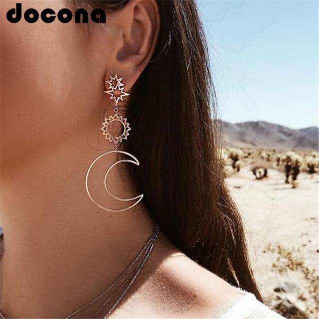 Docona oro rosa estrella Luna, Pendientes para las mujeres chica hueco geométrico pendiente colgante de moda de la joyería Pendientes de botón Pendientes 3023