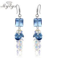 Mytys New Arrival Cubic Cluster Blue Crystal Drop Earrings 2017 Fashion Wholesale High Quality Jewellery CE97