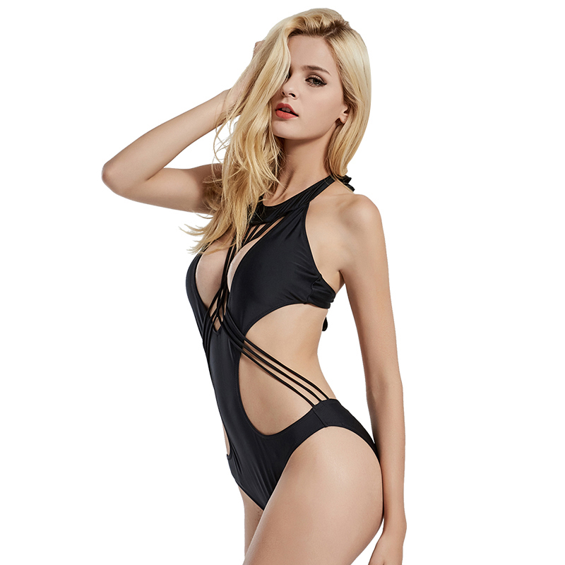 38a2af932b1596 Sexy Black Halter Cut Out Bandage Trikini Swim Bathing Suit Monokini Push  Up Brazilian Swimwear Women One Piece Swimsuit-in One-Piece Suits from  Sports ...