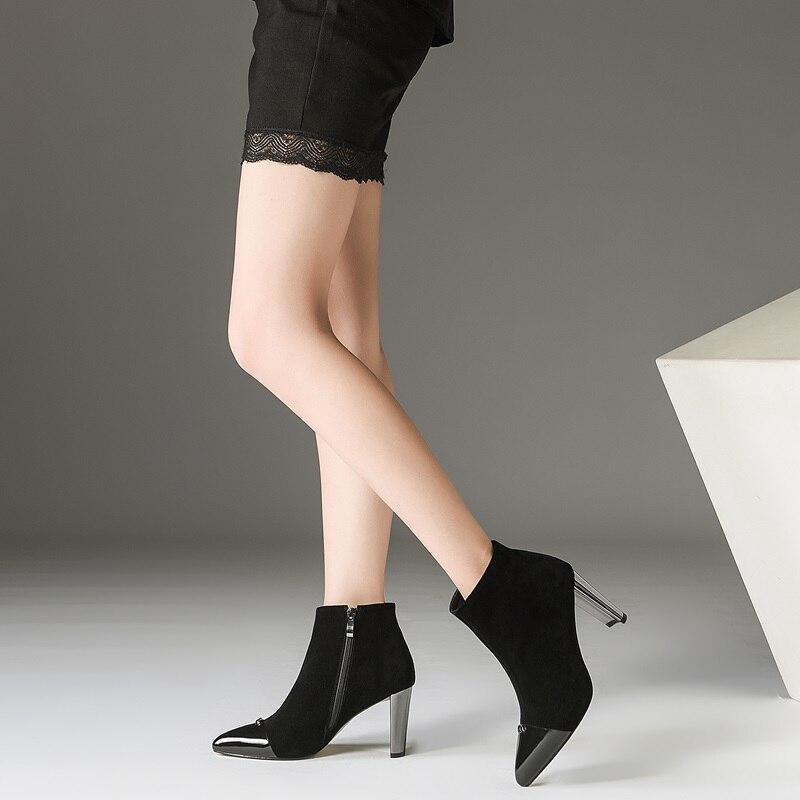 Zvq Bottines Chaussures Étrange Suède Pour 2018 Super Style L'extérieur Partie Black Nouvelle Haute Éclair Fermeture Hiver Pointu À Enfant Mode Sexy Femmes Bout 9YIDWHE2
