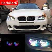 RGBW мульти Цвет знаковые M4 Стиль с украшением в виде кристаллов Ангельские глазки комплект дневной свет DRL для BMW E60 5 серия ксенон 528i/535i, pre LCI и