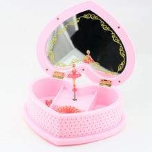 Mechanism Heart Shape Dancing Ballerina Music Box PLastic Jewelry Box Girls Carousel Hand Crank Musical Boxes Gift Home Decor