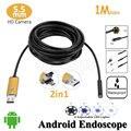 OD 5.5mm Android Lente 2em1 USB Endoscópio Camera 1 M Cobra flexível Tubo USB Endoscópio Inspeção Android PC Telefone USB OTG câmera