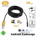 OD 5.5mm Lens Android USB 2in1 Endoscope Camera 1M Snake Flexible USB Tube Inspection Android Phone PC OTG USB Borescope Camera
