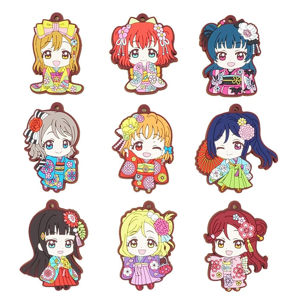 Love Live Sunshine Aqours Anime Chika You Yoshiko Ruby Dia Kanan Hanamaru Mari Riko Kimono Matsuri Rubber Keychain