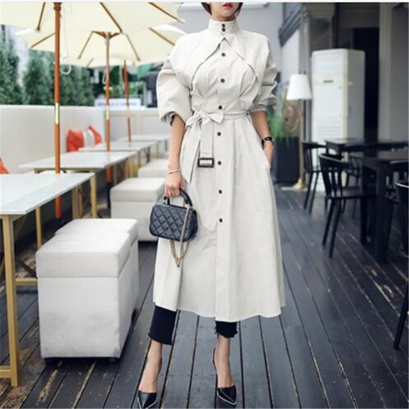 Women Spring Long   Trench   Elegant Sashes Coat Casual Stand Collar Lantern Sleeve High Waist Lace Up Loose Windbreaker Overcoat