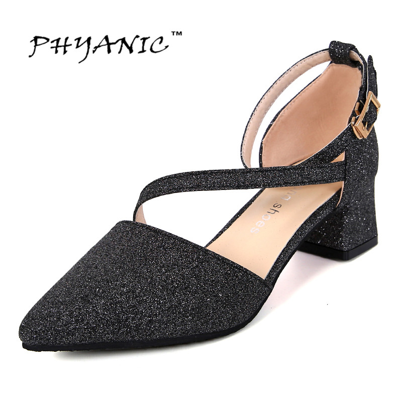 PHYANIC Summer Women Sandals Pointed Toe Flip Flops Women's Sandles Thick Heel Women Shoes Sequined Cloth Gladiator Shoes Woman phyanic 2017 gladiator sandals gold silver shoes woman summer platform wedges glitters creepers casual women shoes phy3323