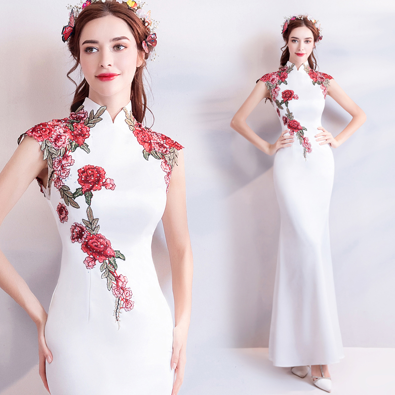 New Chinese Style Chic Small Stand Colloar Exquisite Embroidery Peony  Skinny Mermaid Cheongsam/Mother Dress 64