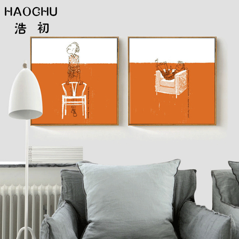 HAOCHU Hand Painted Line Drawing Men Lay on Couch Canvas