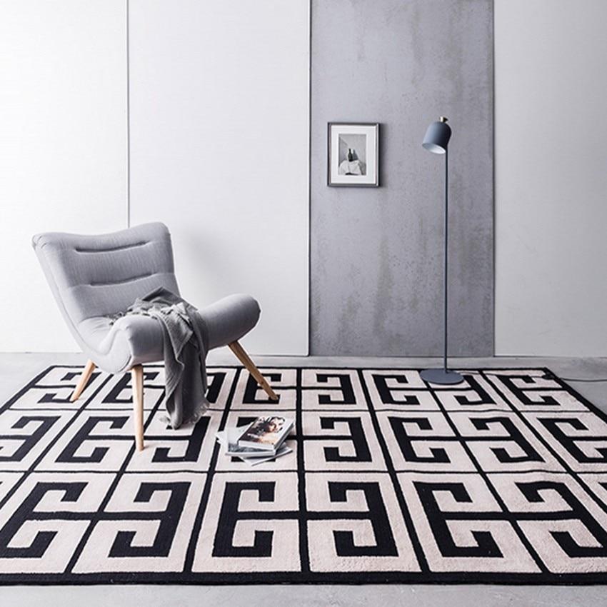 Nordic stijl zwart geometrische doolhof patroon woonkamer tapijt big - Thuis textiel
