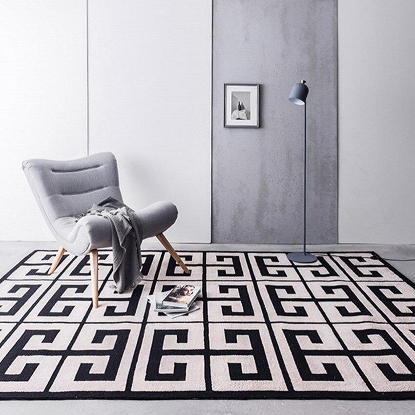 Style nordique noir géométrique labyrinthe motif salon tapis grande taille rayé chevet sol tapis pour chambre, bureau tapis de sol