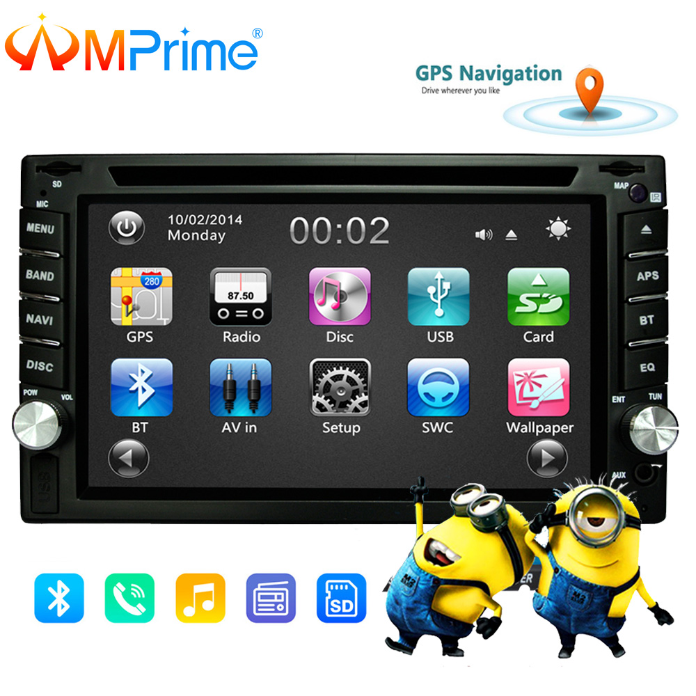 AMPrime 2 din Universal Car Radio Double Car DVD Player GPS Navigation In dash Car Audio Stereo Video Car multimedia MP5 Player