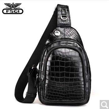 fasiqi Crocodile leather chest bag leisure travel 2018 Multifunctional new stylish messenger tote large capacity crocodile skin