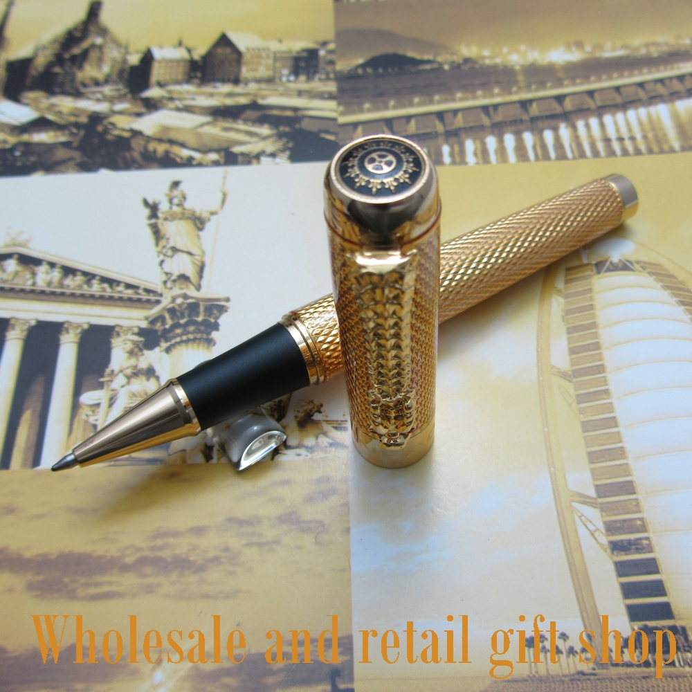 Wholesale Promotion JINHAO H800 Noblest Silver Carver Dragon Pen Metal Gift Roller ball Pen With pen bag noble jinhao old grey two dragon play pearl roller ball pen crystal golden silver 3 colors for choose
