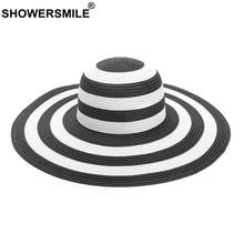 SHOWERSMILE Women Straw Hats Striped Wide Brim 13.5cm Ladies Summer Hat Sun Protection Patchwork Fashion Female Paper Beach