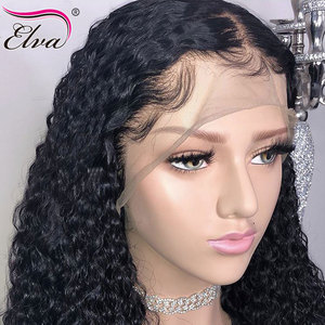 Image 4 - Curly Lace Front Human Hair Wigs Elva Hair Peruvian Remy Hair 360 Frontal Preplucked Bleached Knots For Women Baby Hair Lace Wig