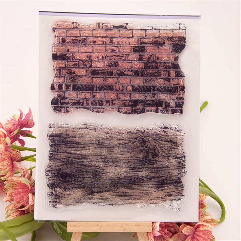 New 2016 about brick wall and wood grain design clear stamps siliconr gel material handmade scrapbooking embellishments EE-059 about