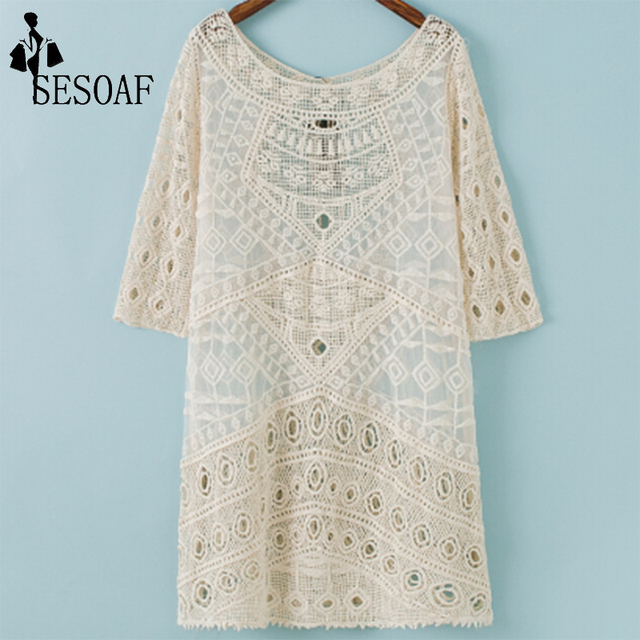 3b60566b6334a Women Beige Sexy Lace Cotton Three Quarter Sleeve Dress Bohemian Vintage  Dresses