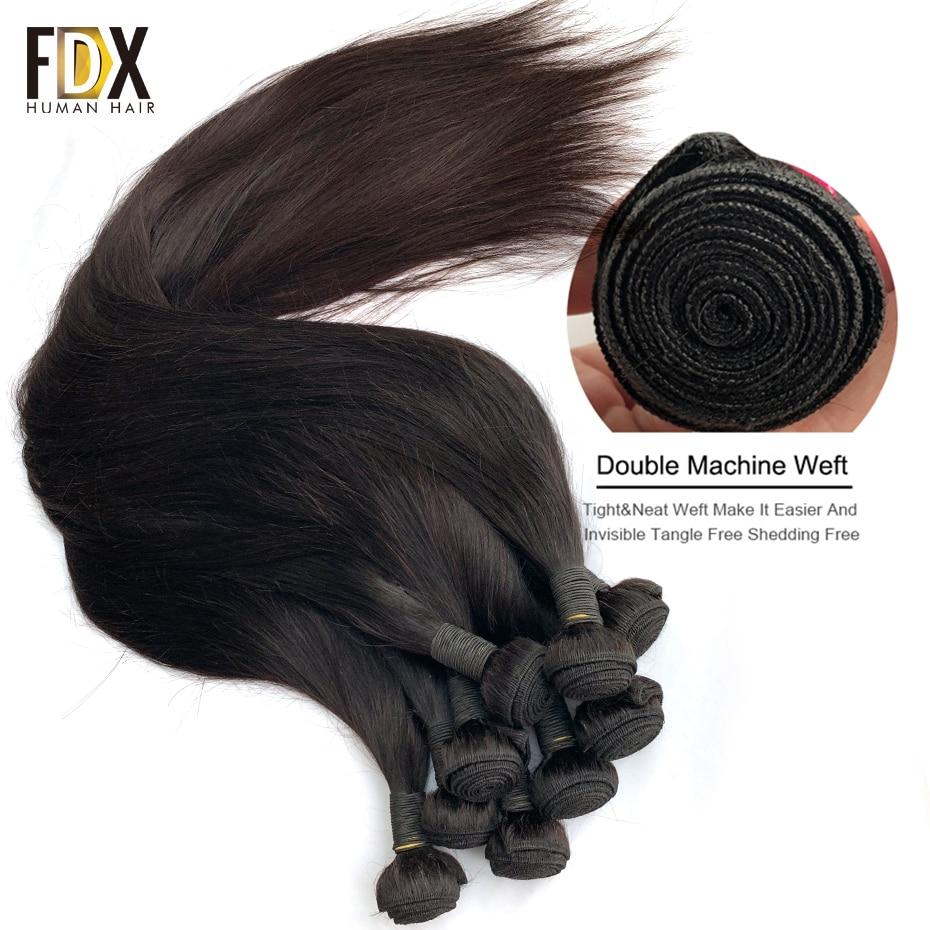 FDX 30 32 34 36 38 40 Inch Silky Straight   Bundles 100%  Bundles 1/3/4 Pieces Natural Color 2
