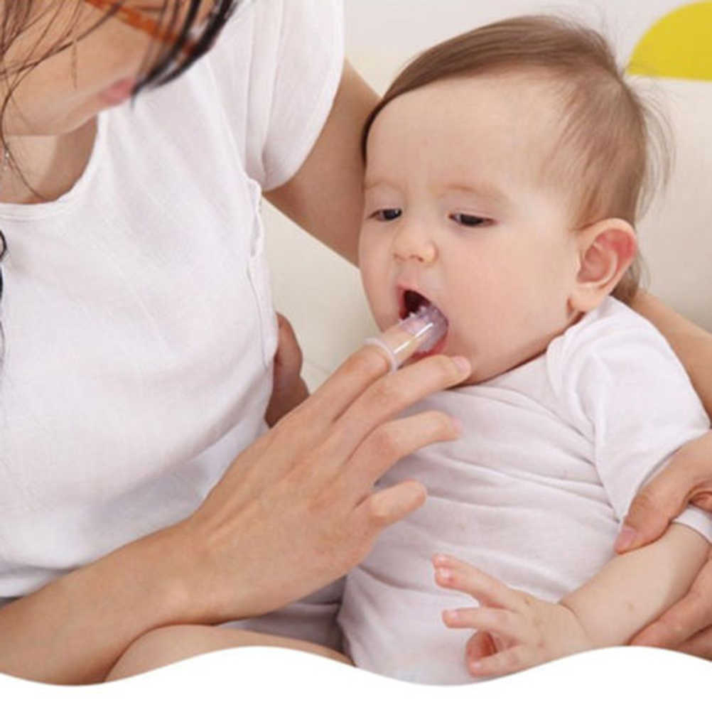 Cepillo de dientes para niños con caja suave de silicona para limpiar los dedos del bebé con cepillo de limpieza de goma para niños conjunto masajeador