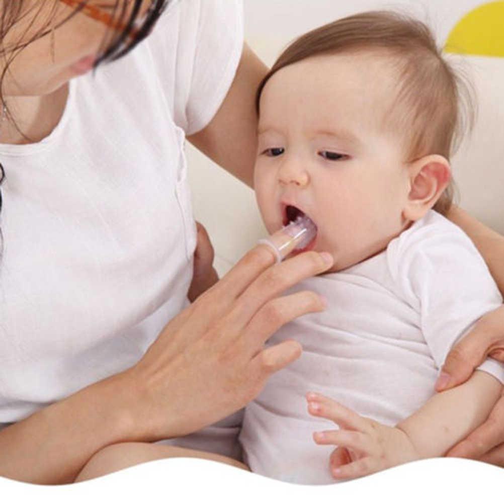 Crianças Cute Dedo Do Bebê escova de Dentes escova de Dentes Clear Massagem escova de Dentes Com a Caixa Macia Infantil Silicone de Borracha Escova de Limpeza Conjunto Massageador